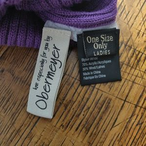 Obermeyer Accessories - Obermeyer Wool Blend Ladies Purple Pom Winter Hat
